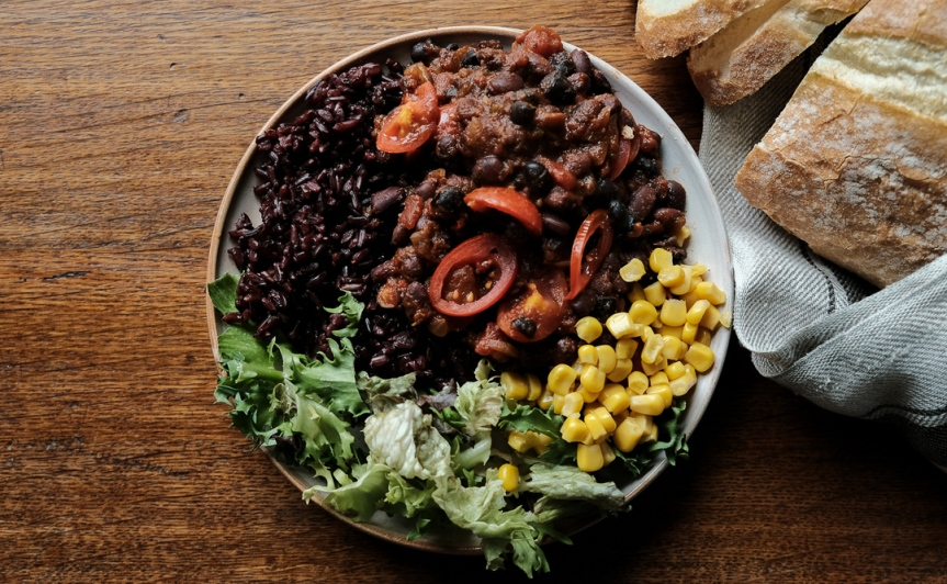 Smoky black bean chili with red rice